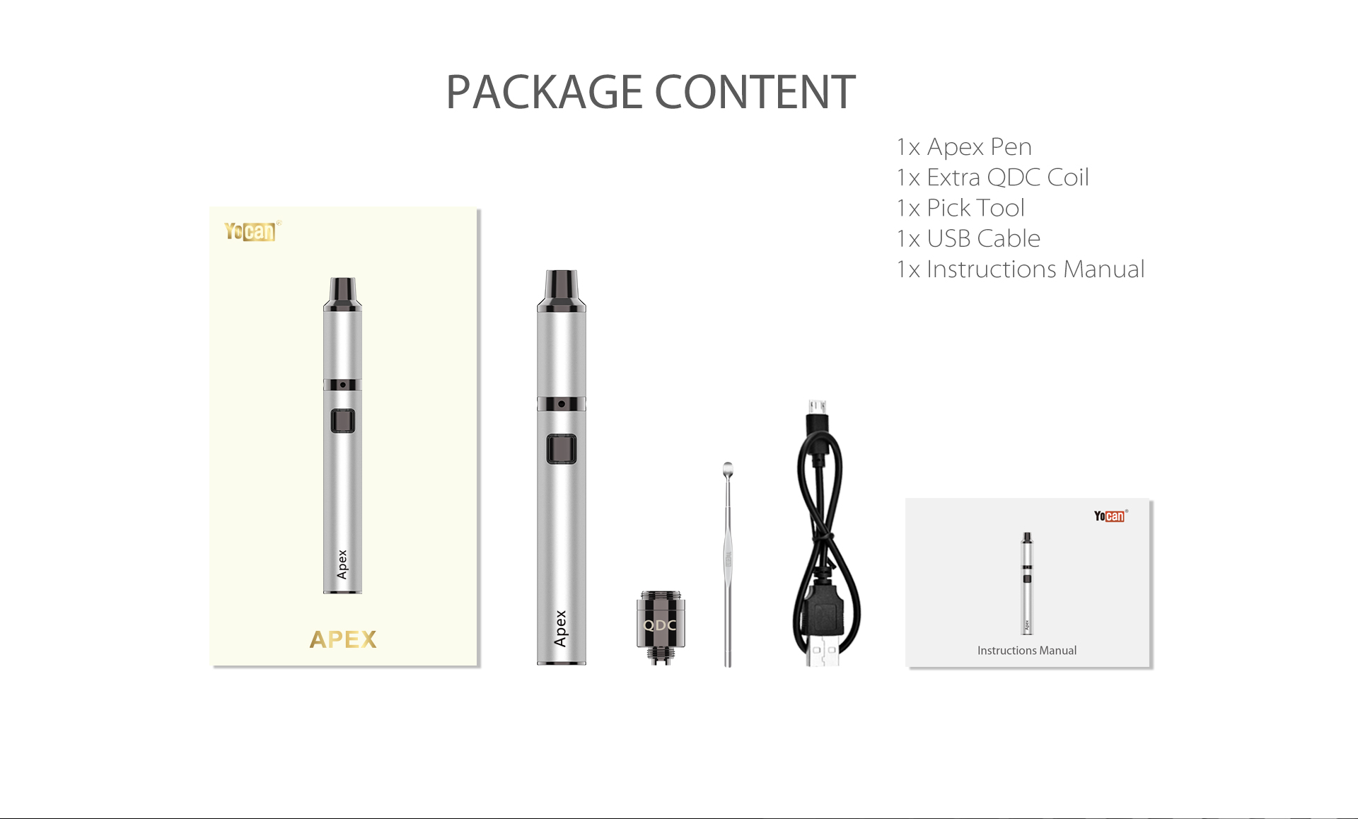 The package content of Yocan Apex concentrate vaporizer pen
