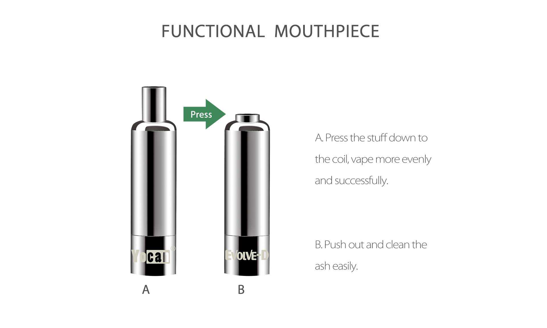 Yocan Evolve-D vaporizer pen 2020 version features functional mouthpiece.