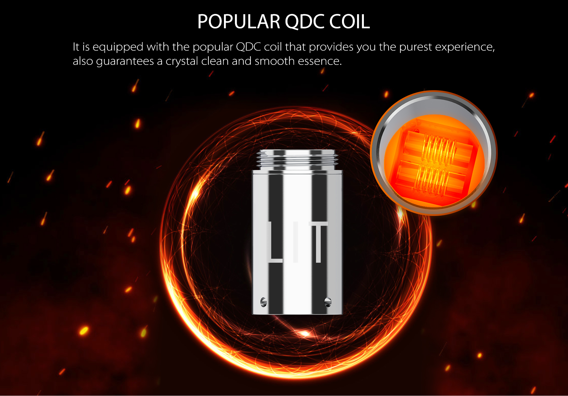 Yocan Lit Twist Concentrate Vaporizer equipped with QDC coil.