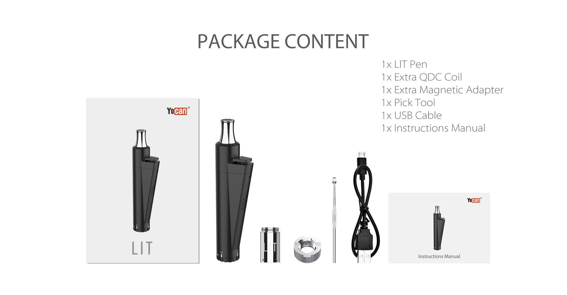 The package content of Yocan Lit Twist Concentrate Vaporizer