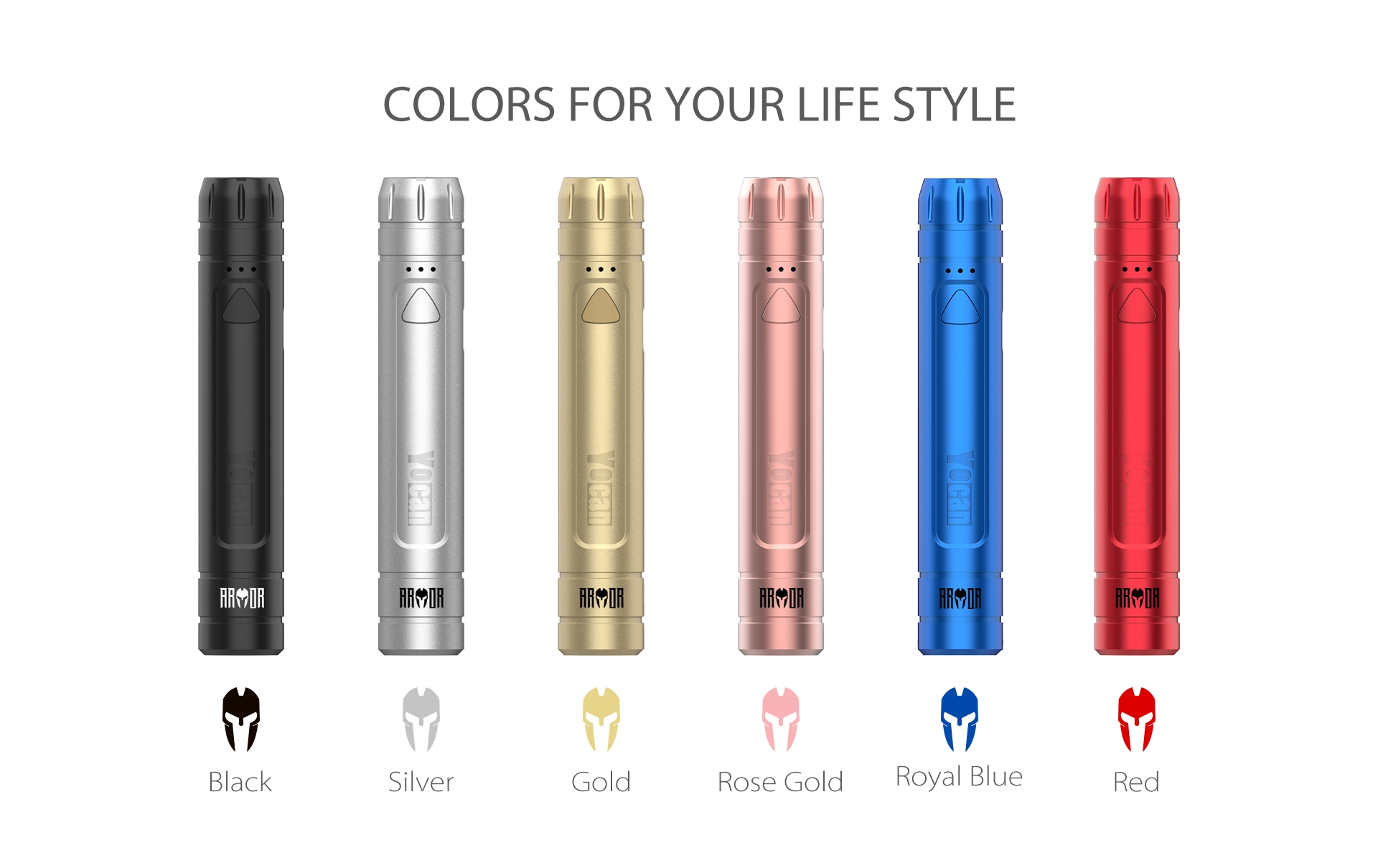 Yocan Armor 510 Thread Battery comes with 6 colors.
