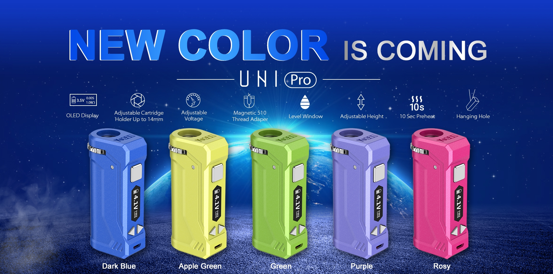Yocan UNI Pro Box Mod Battery comes with 5 new colors