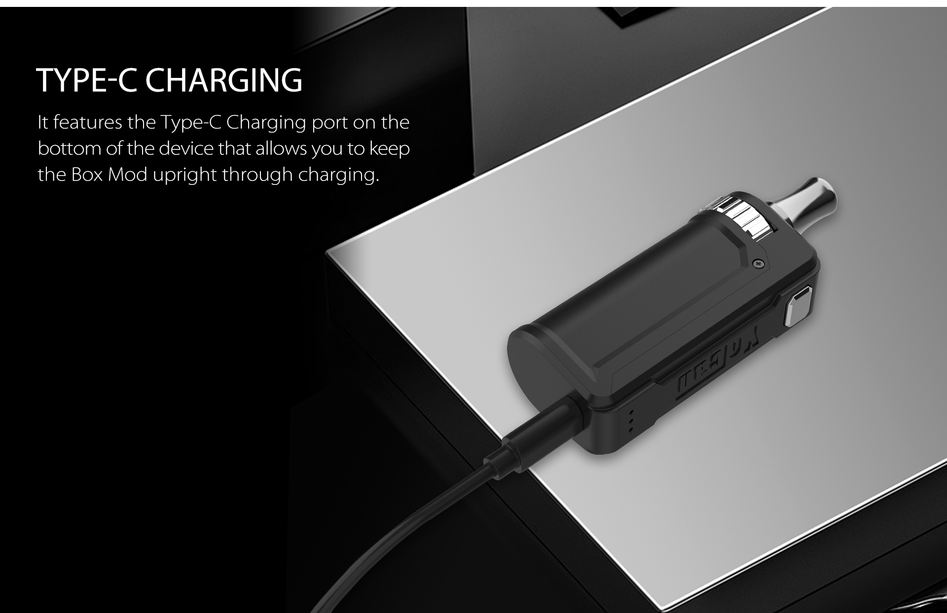 Yocan UNI S Box Mod features teh type-c charging port on the bottom of the device.