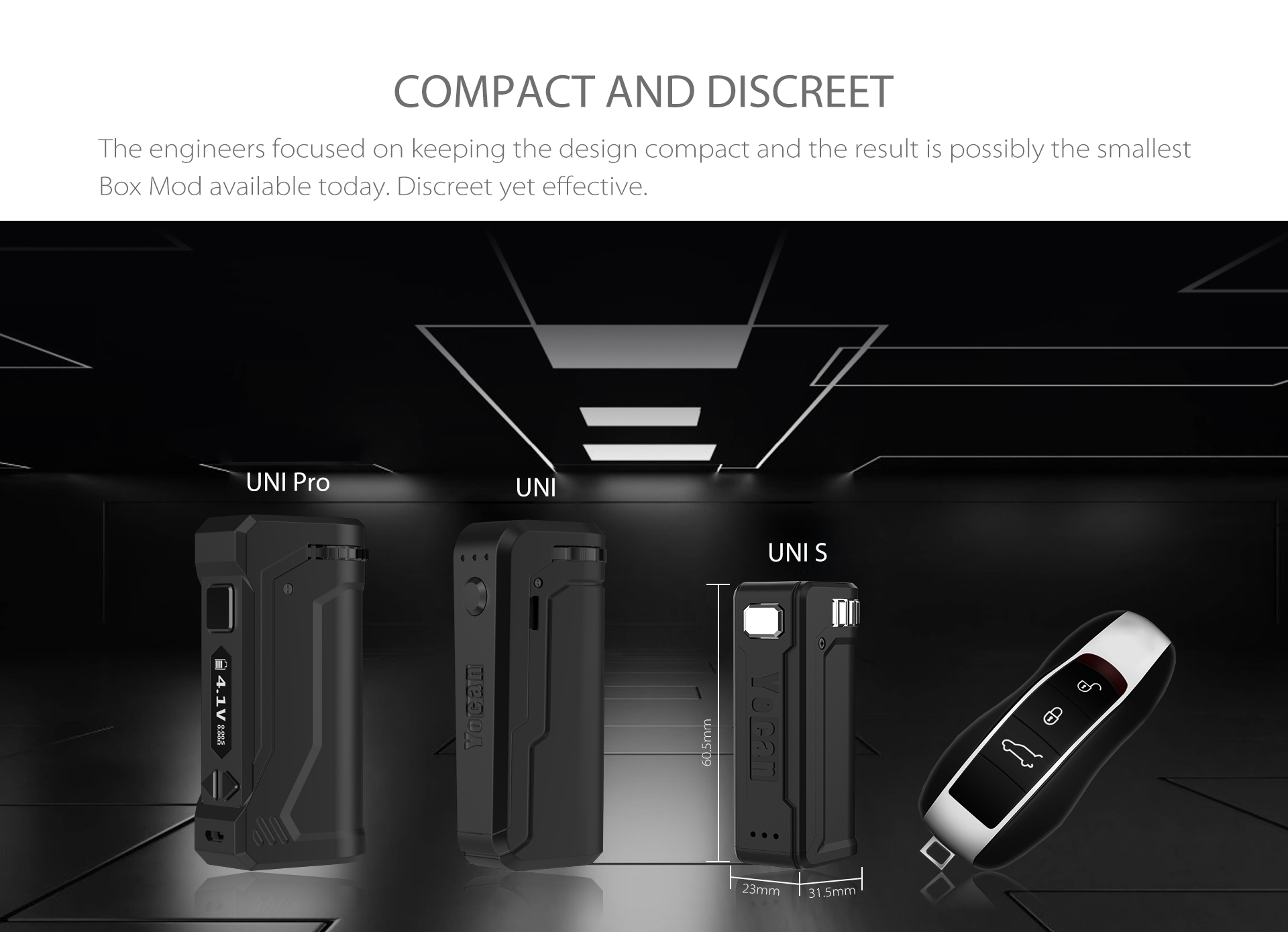 Yocan UNI S Box Mod is a compact and discreet on the go vape device.