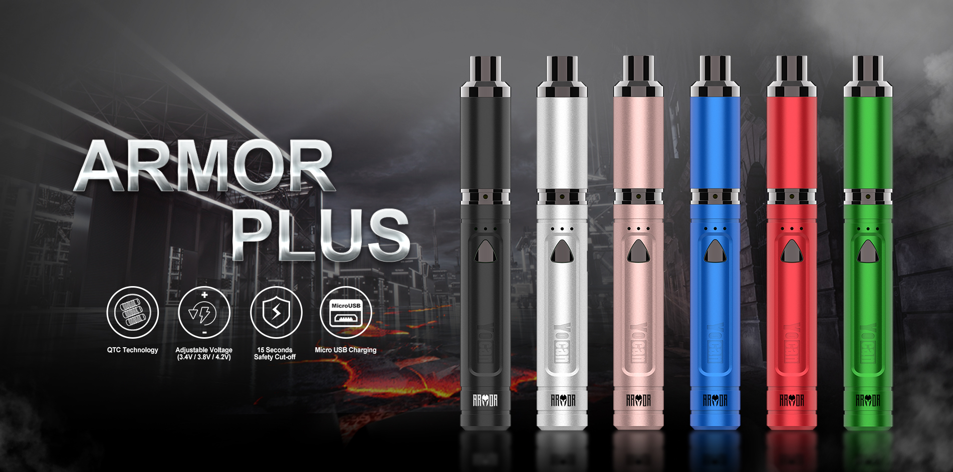 Yocan Armor Plus vape pen provides smooth and efficient hits.