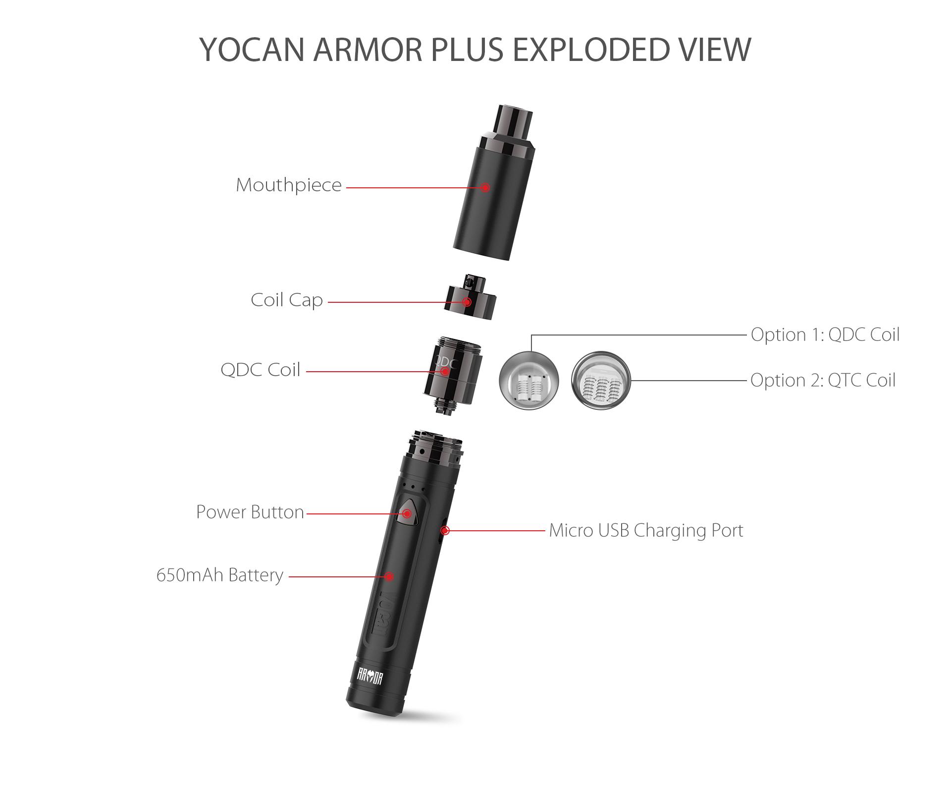Yocan Armor Plus vape pen exploded view.
