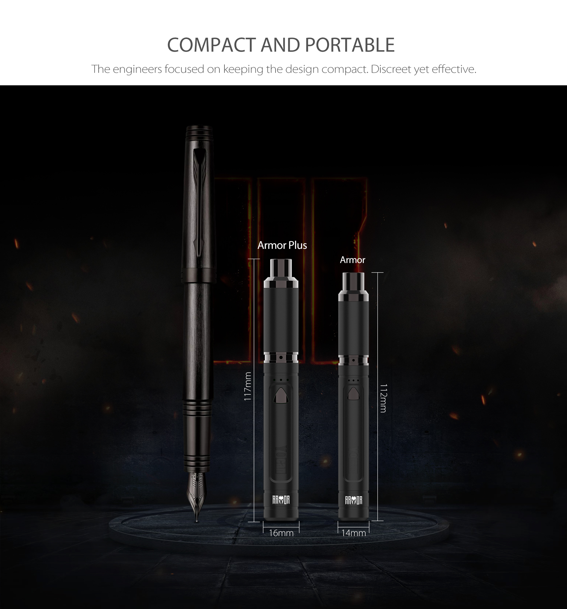 Yocan Armor Plus vape pen is compact, discreet yet effective.