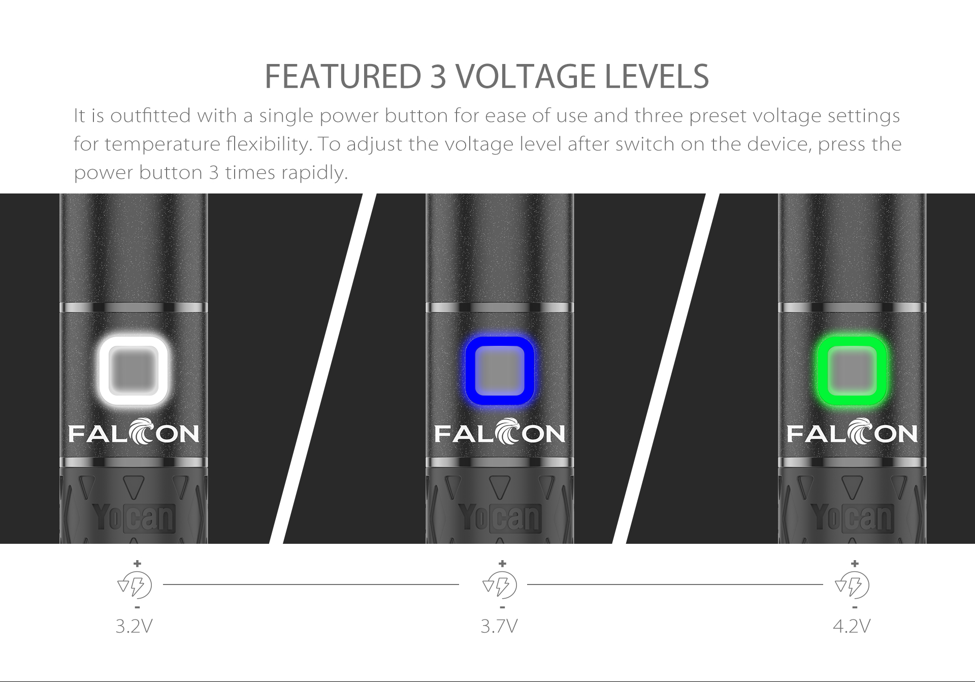 Yocan Falcon Vaporizer is outfitted with a single power button for ease of use and three preset voltage