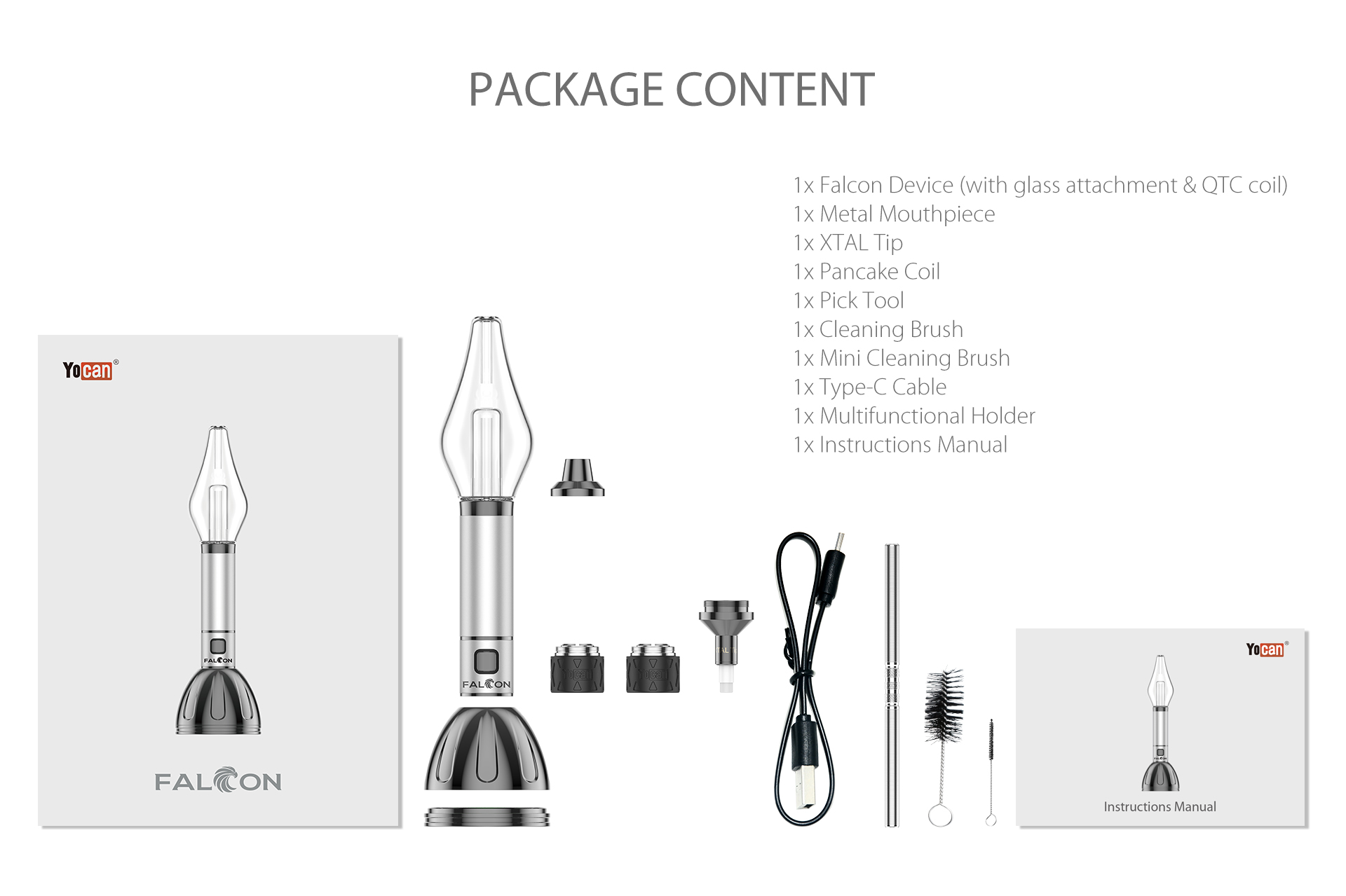 Yocan Falcon Vaporizer Package Content.