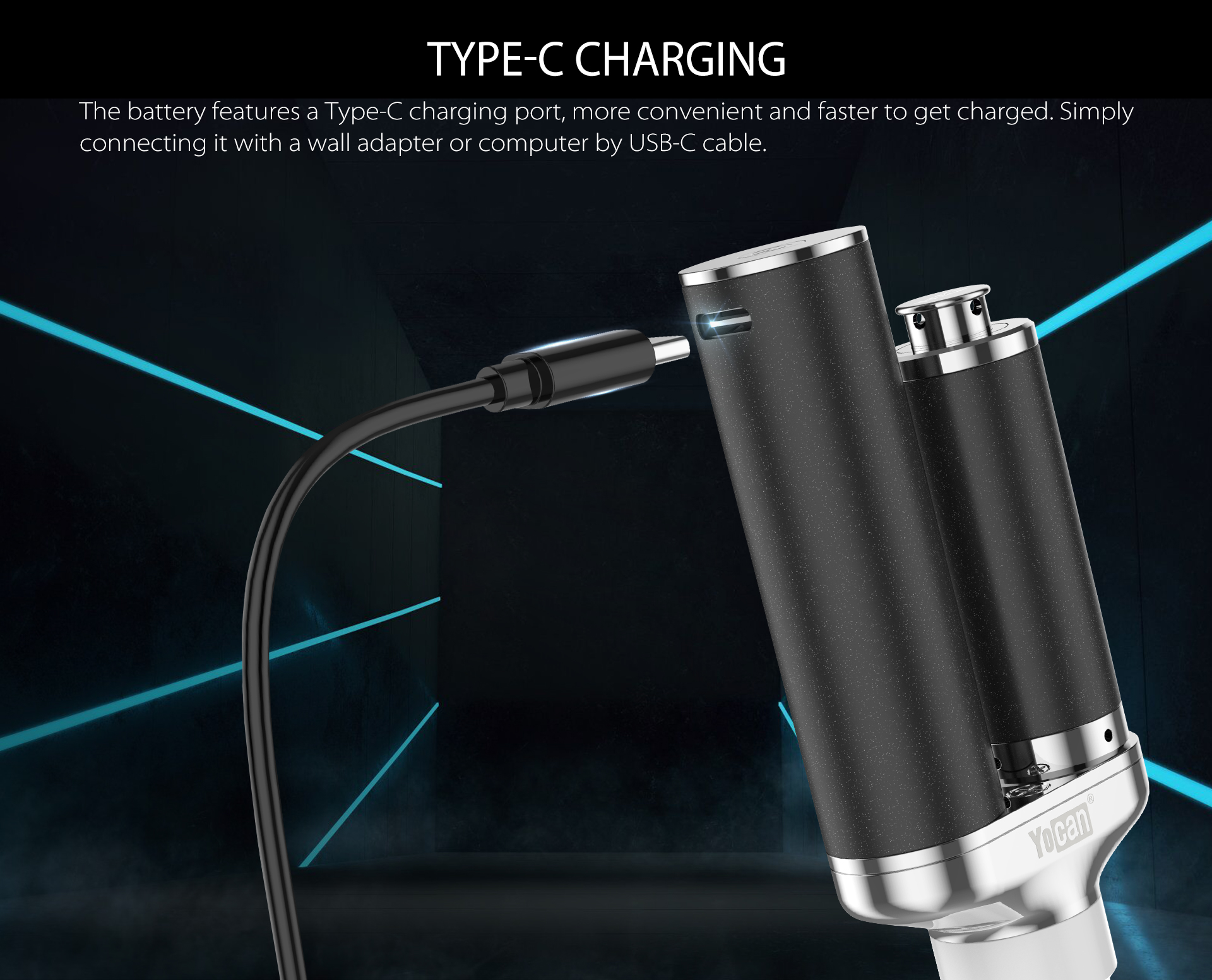 Yocan Torch XL features a type-ch charging port.