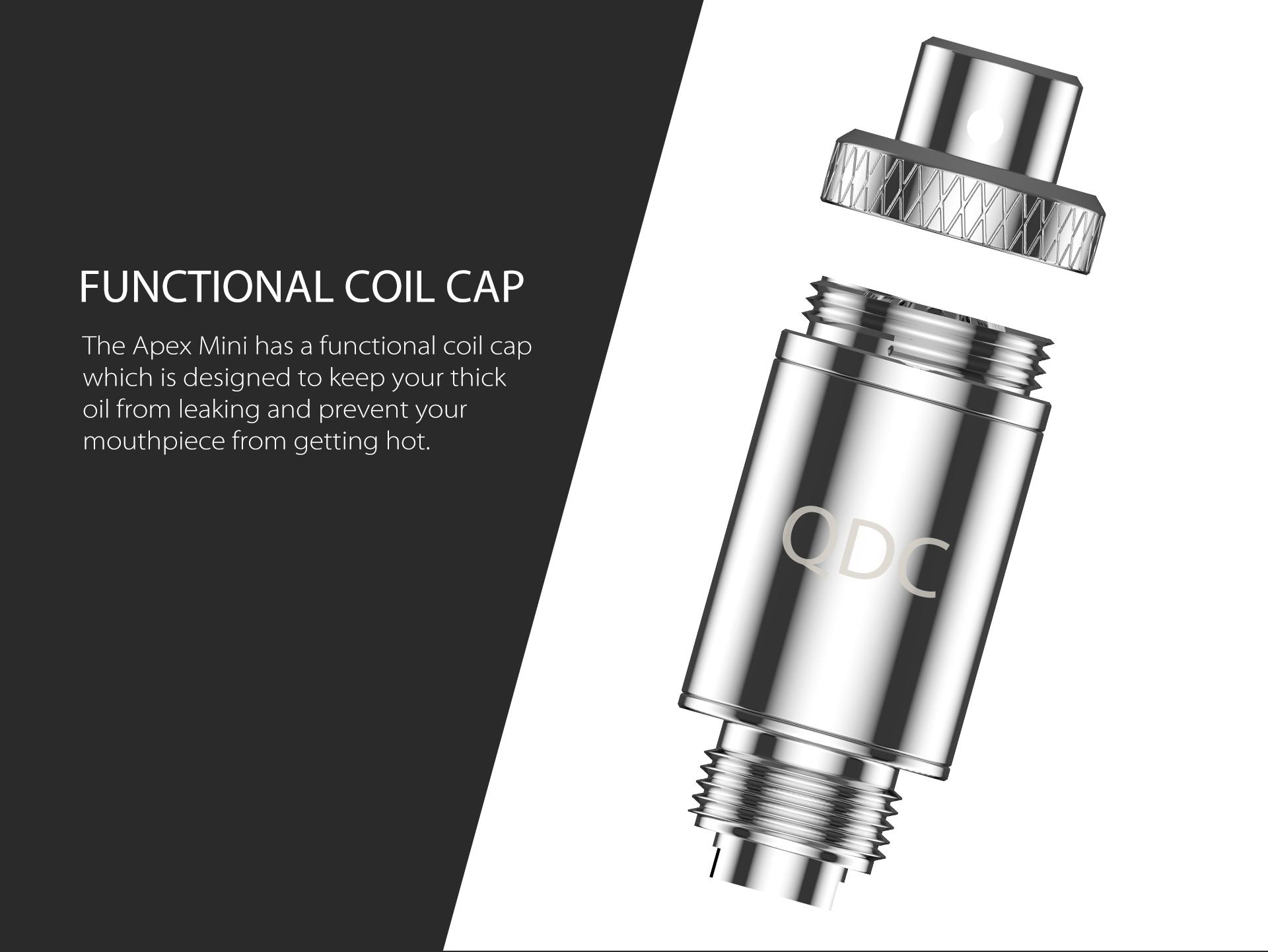 The Apex Mini has a functional coil cap.