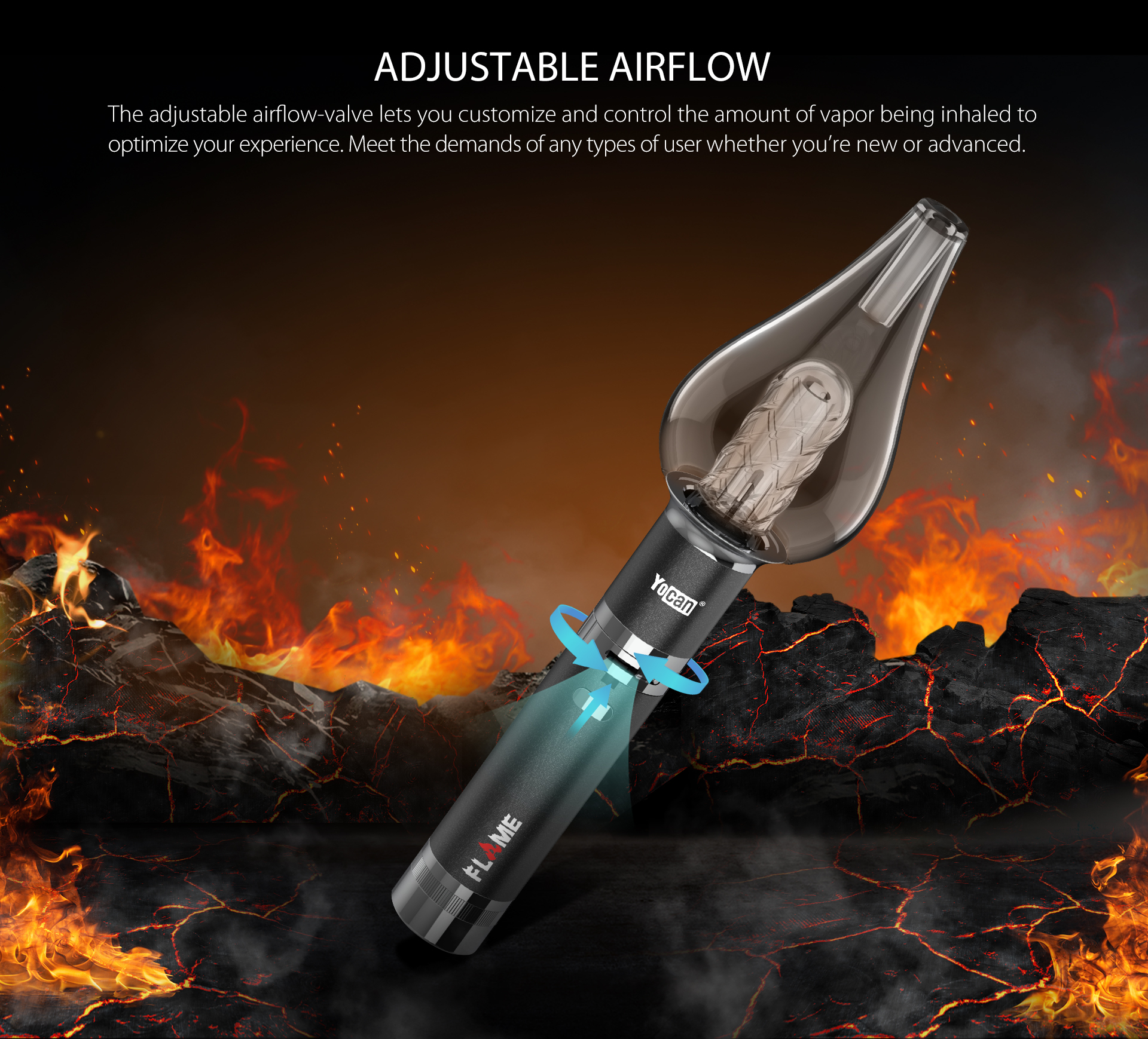 Yocan Flame vaporizer pen featured adjustable airflow-valve function.