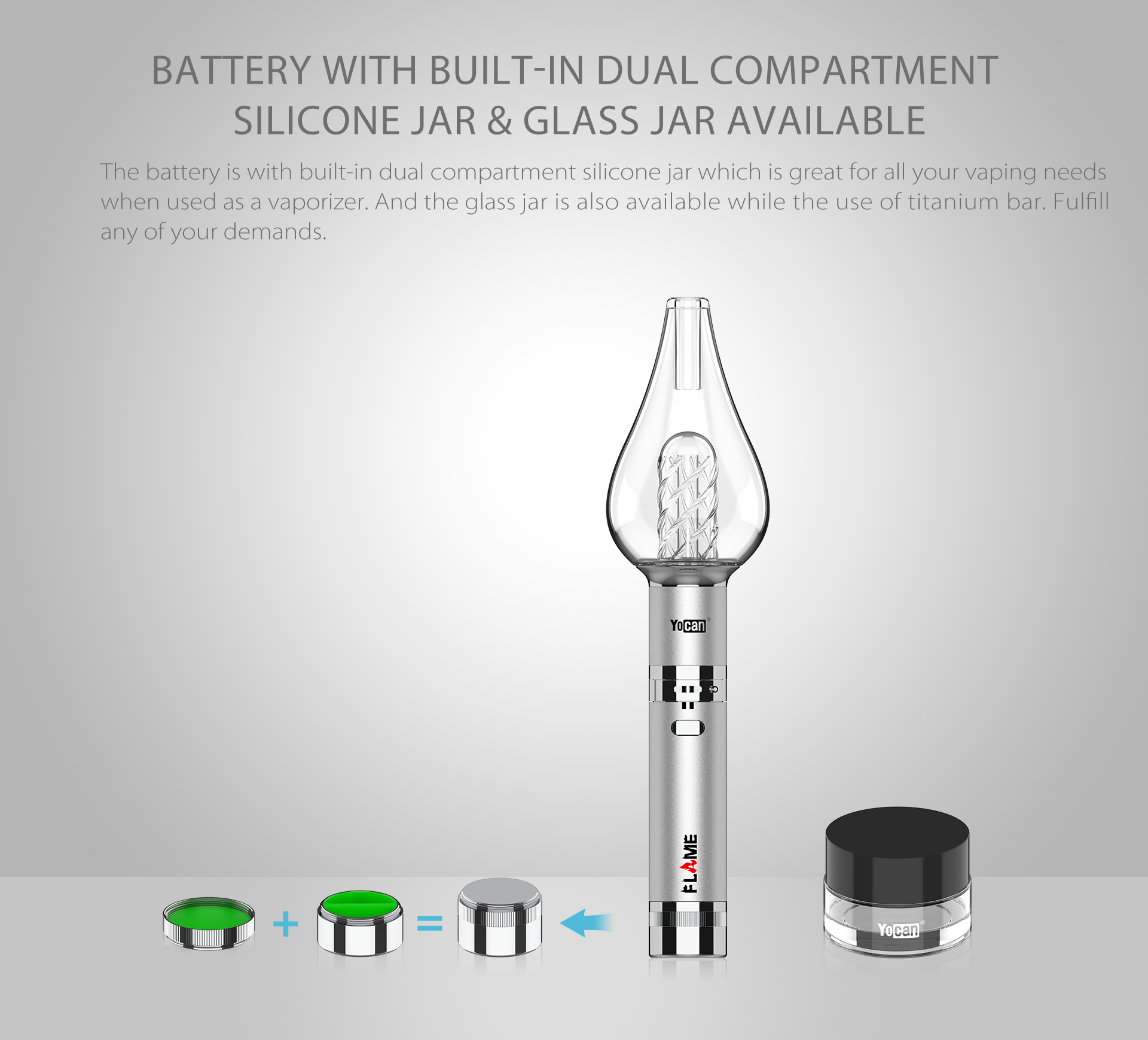 Yocan Flame vaporizer pen comes with built-in dual compartment silicone jar.