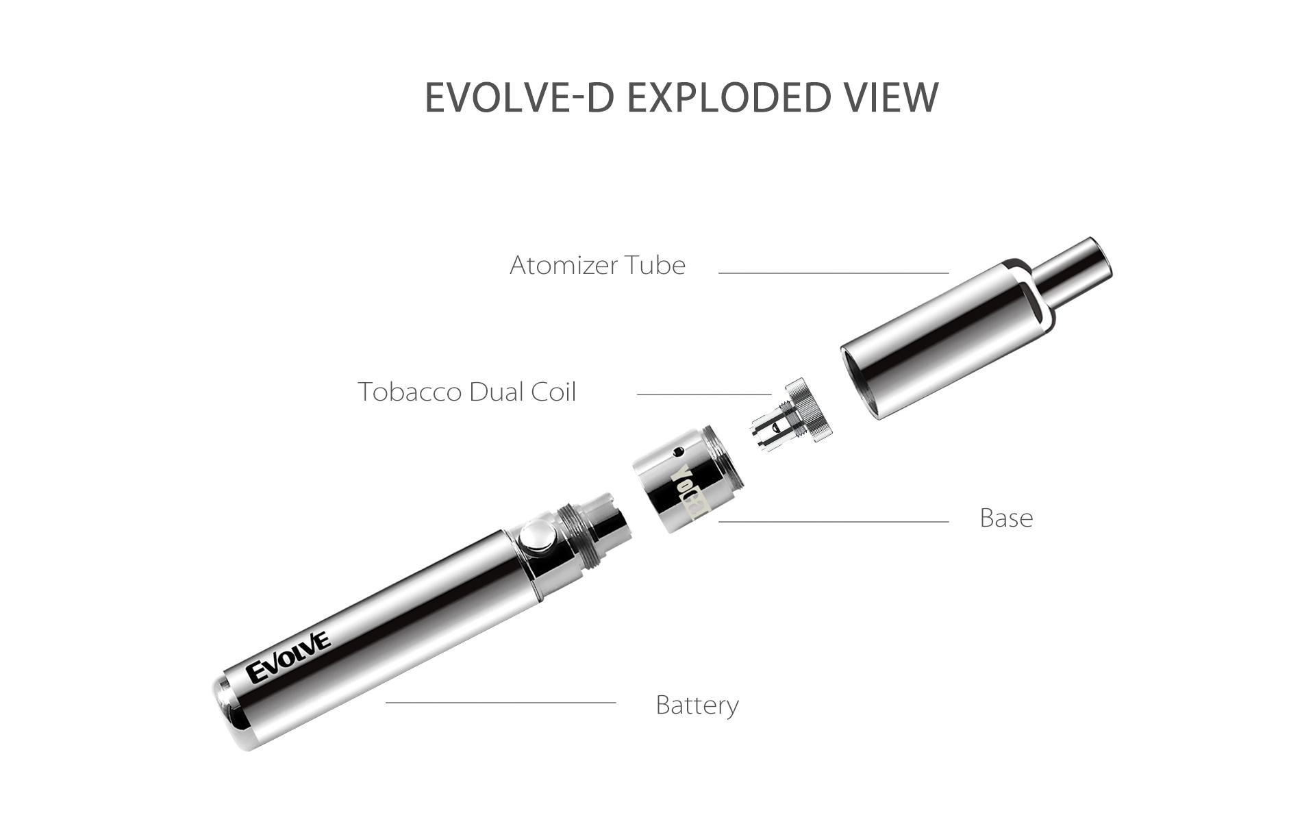 Yocan Evolve-D vaporizer pen 2020 version exploded view.