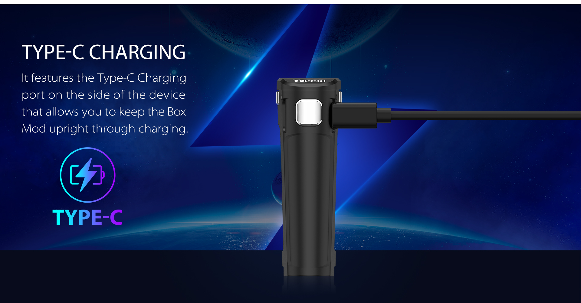 Yocan UNI Twist Universal Portable Mod features the type-c charging port.