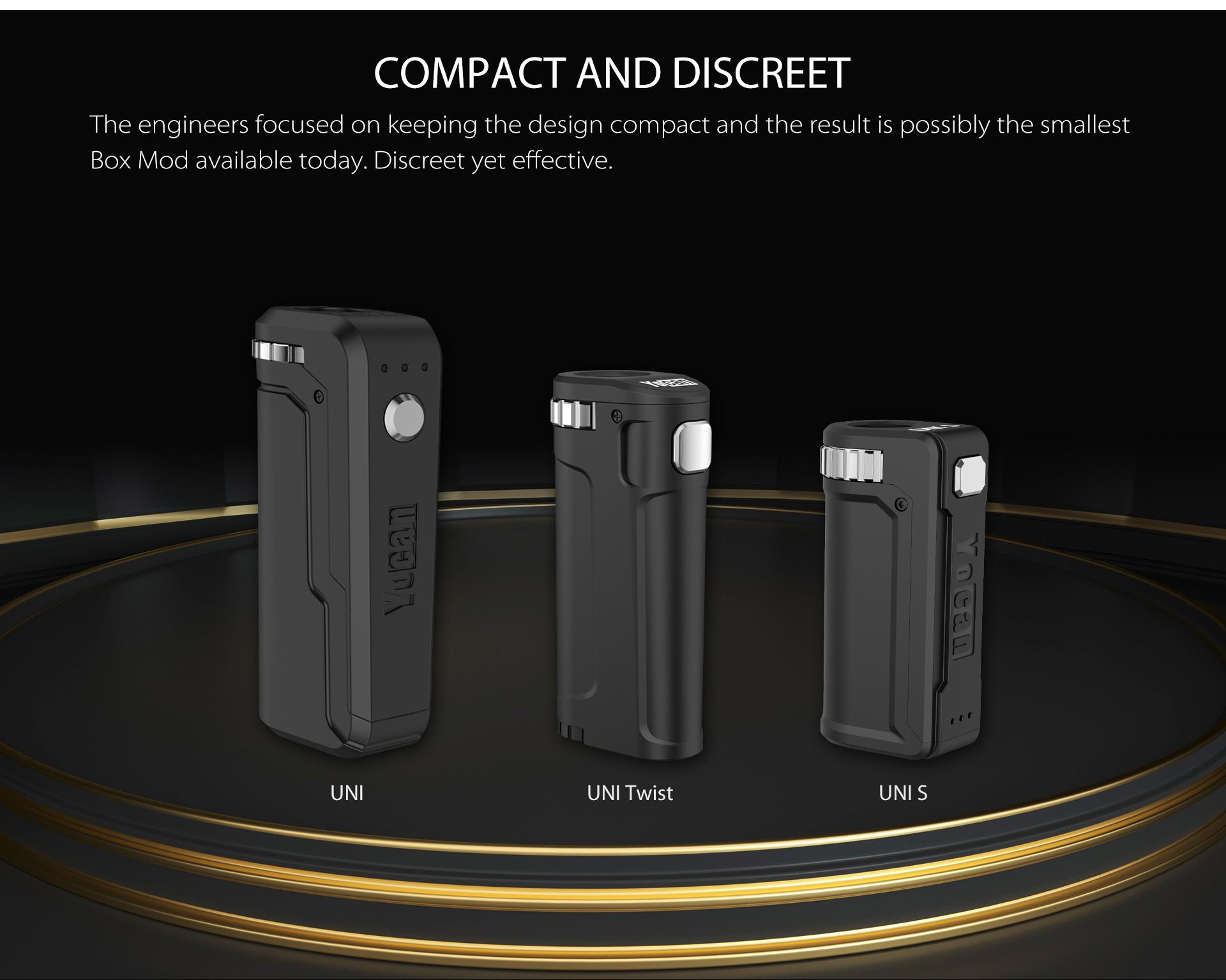 Yocan UNI Twist Universal Portable Mod is compact and discreet.