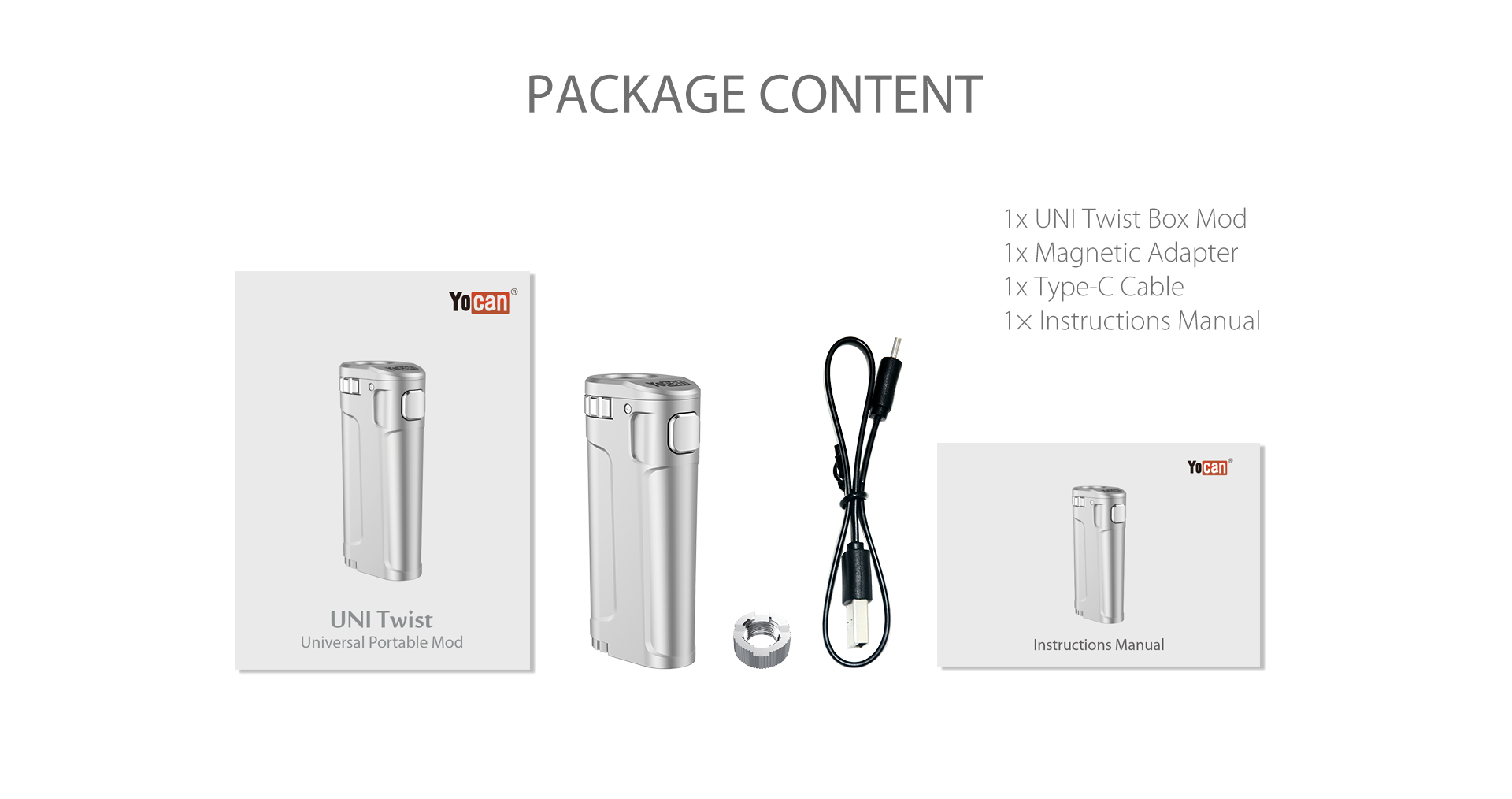The package content of Yocan UNI Twist Universal Portable Mod.