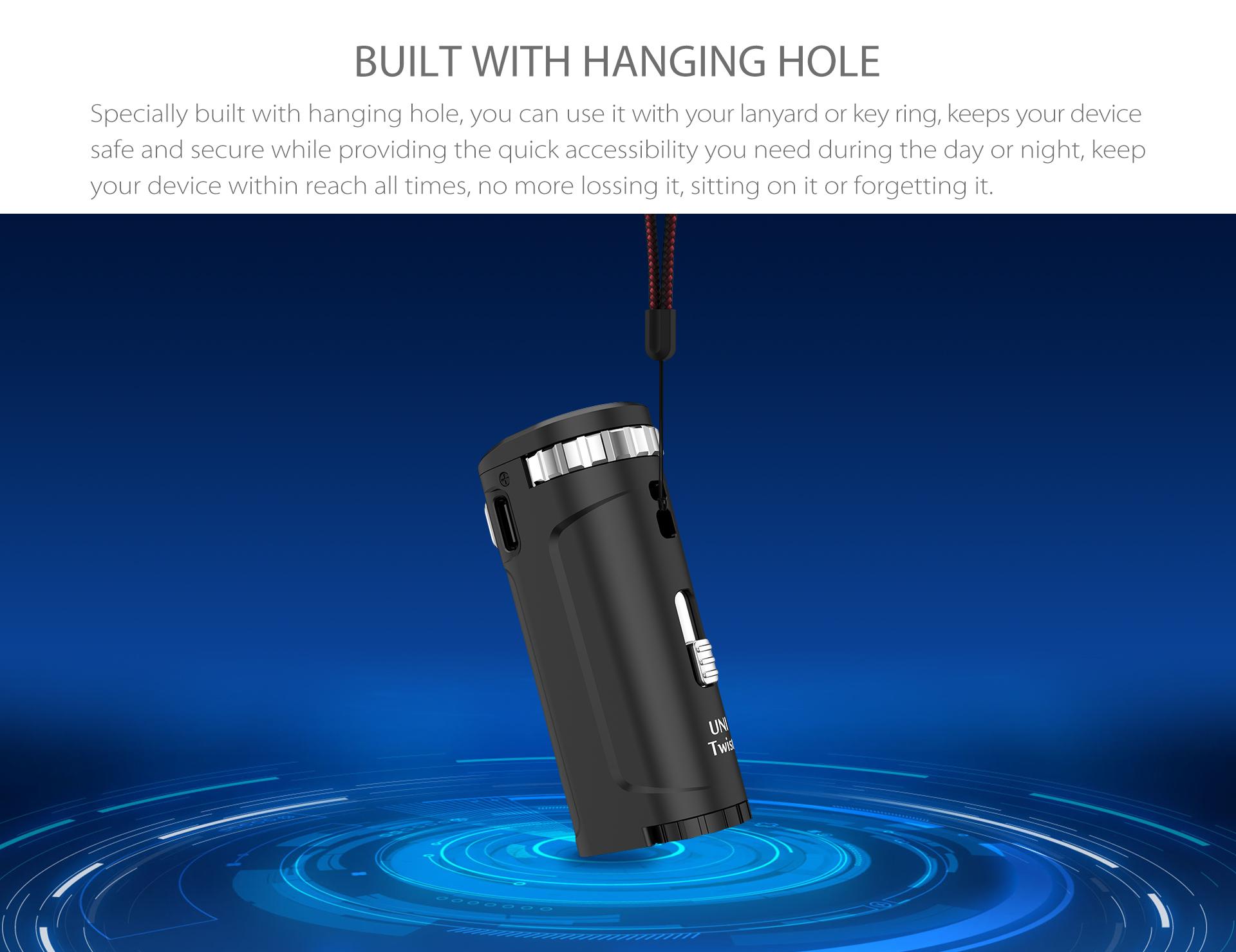 Yocan UNI Twist Universal Portable Mod built with hanging hole