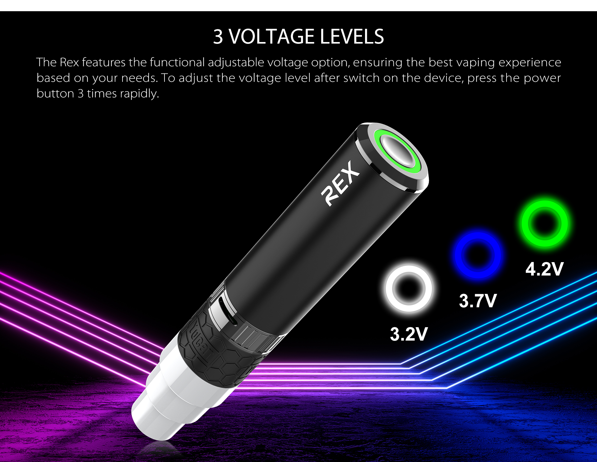 The Yocan Rex features 3 preset functional adjustable voltage option