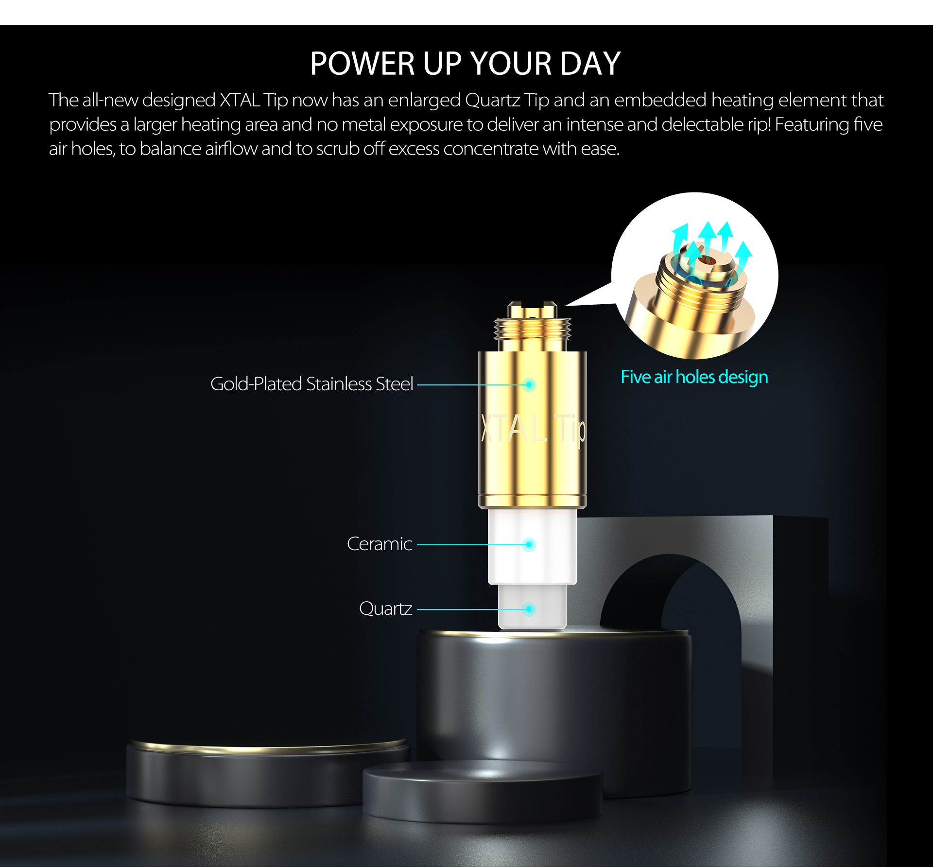 Yocan Loki Portable Vaporizer Pen come with all-new designed XTAL Tip.