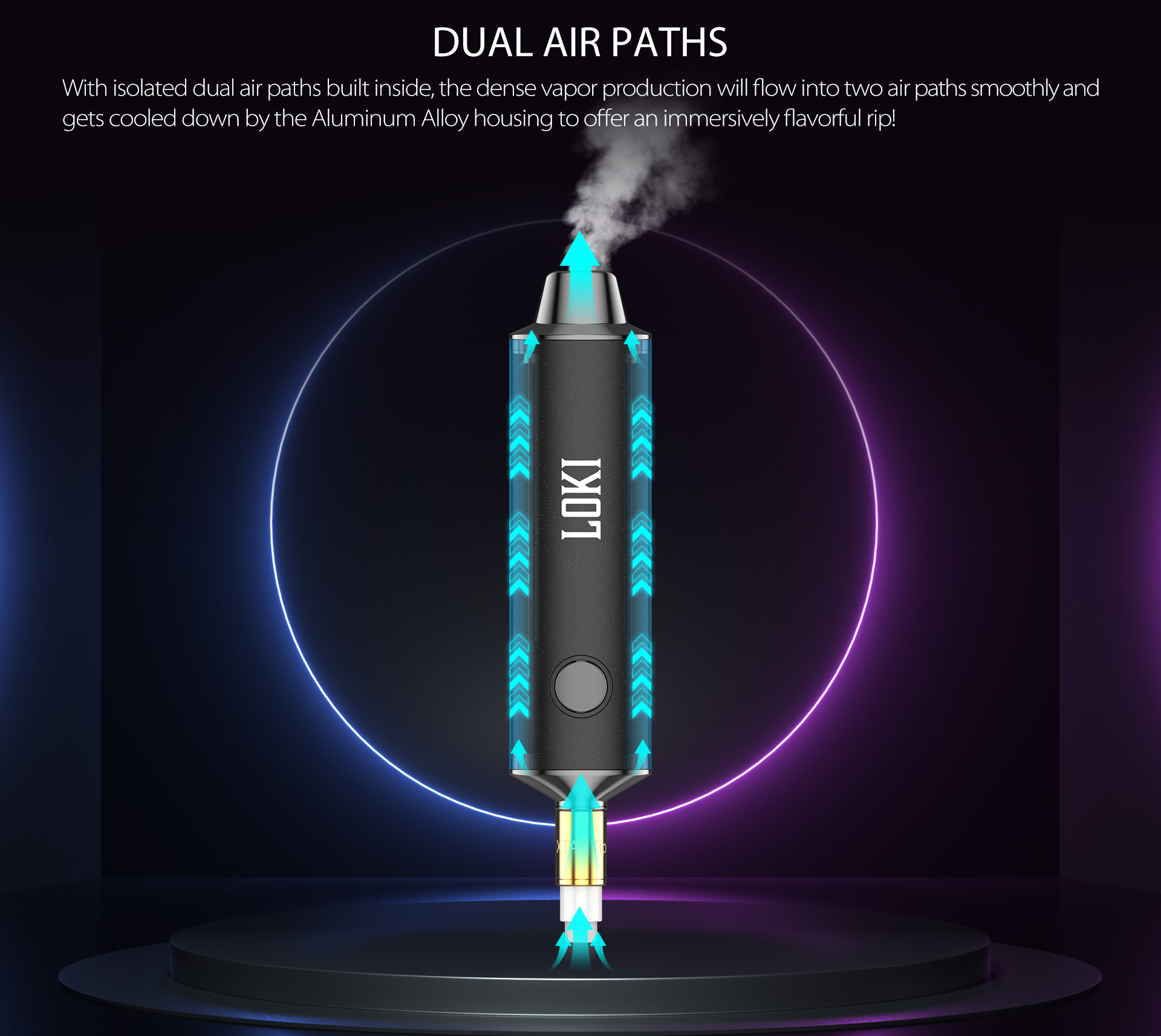Yocan Loki Portable Vaporizer Pen design with isolated dual air paths.